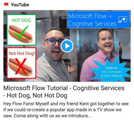 Video Tutorial: MS Flow + Cognitive Services - Kent Weare and Jon Levesque demonstrate the capabilities of MS Flow and Image Recognition via Custom Vision in this great video tutorial.