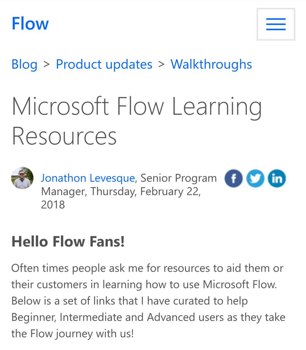 Step Up Your MS Flow Game - From the Product Team, here is a great learning resource for all skill levels.