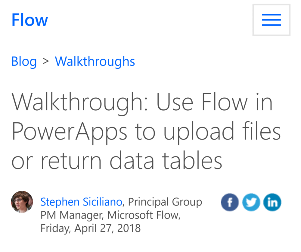 An Excellent Flow Walkthrough - Upload images and return data tables in PowerApps using Flow. (Microsoft)