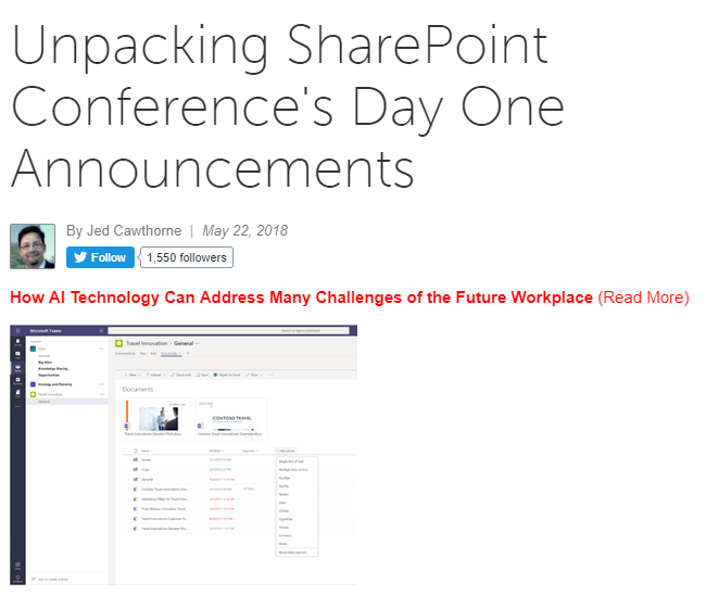 Rundown: SharePoint Features Announced at #SPC18 - Naturally, the big SharePoint conference comes with big announcements. (CMS Wire)