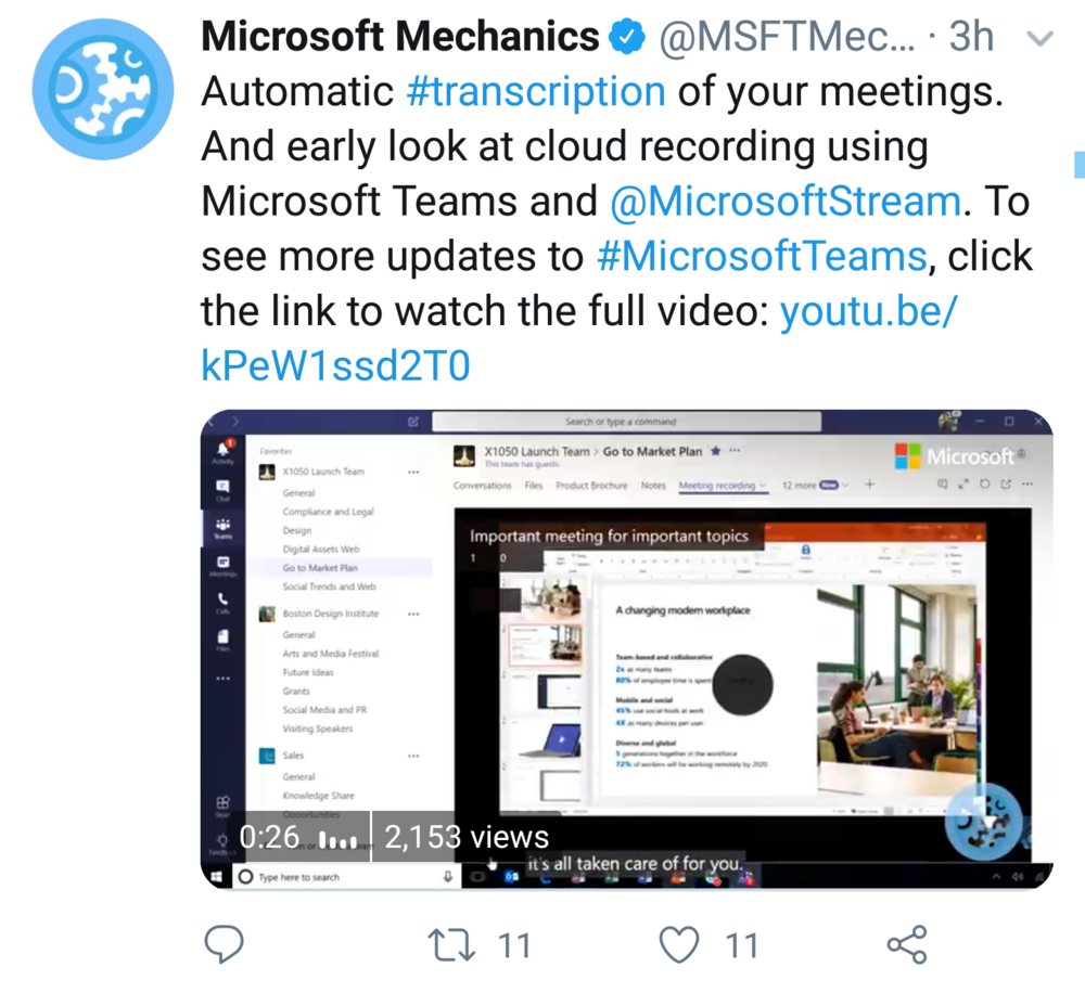 Video: Automatic Transcription and Recordings in Teams - Yet another great addition to Microsoft Teams.(YouTube)