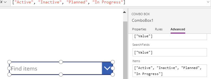 Setting the default value of a PowerApps Combo Box with a string value in a single step.