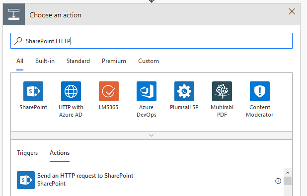 Use the Action selector in MS Flow to find and use the  Send an HTTP request to SharePoint  action.
