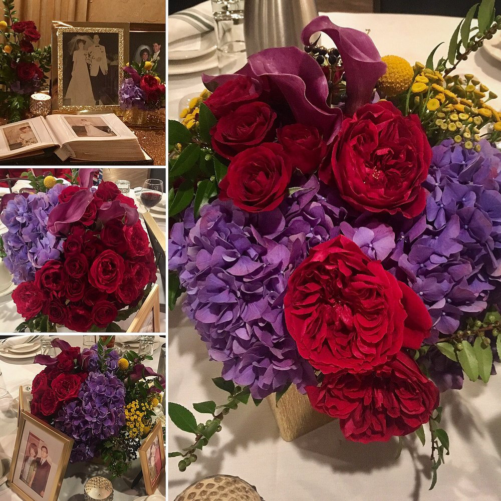 "Cheryl Morley - ""Happy Anniversary Mom & Dad!! And a world of thanks to @mcdesignsinc for the design and amazing floral decor for the event. Everyone was speechless and wanted to know ""who did your flowers?"""""