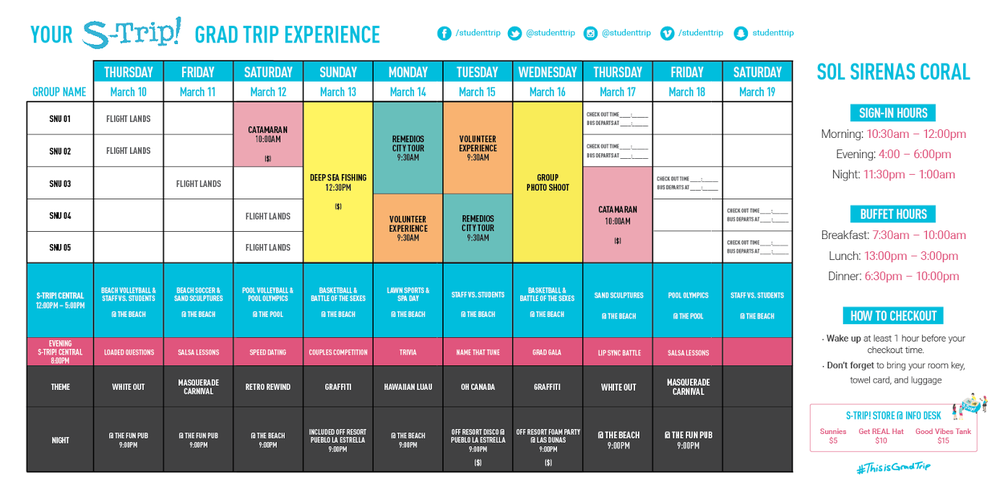 The new S-Trip! Banner Calendar to clearly shows your week on S-Trip! at a glance!