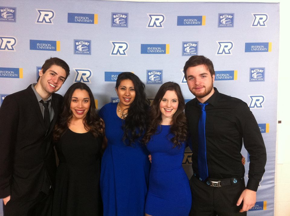 Amber (second from the left) at the Ryerson Blue and Gold Winter Gala with friends!