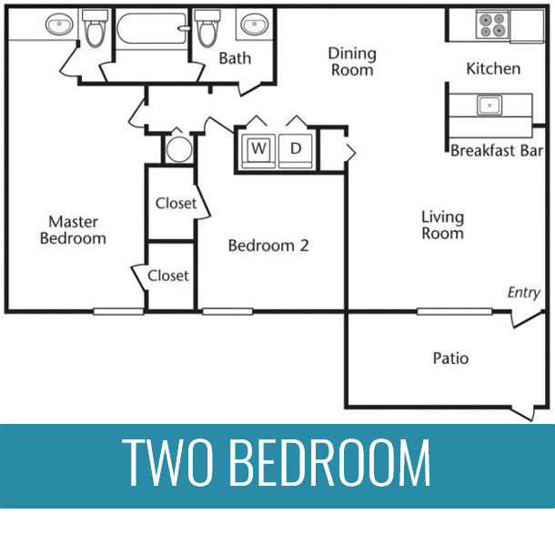 2 Bedrooms | 1.5 Bathrooms | 1,001 Square Feet | From $833 per month