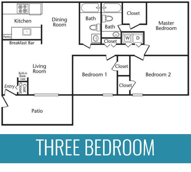 3 Bedrooms | 2 Bathrooms | 1,172 Square Feet | From $929 per month