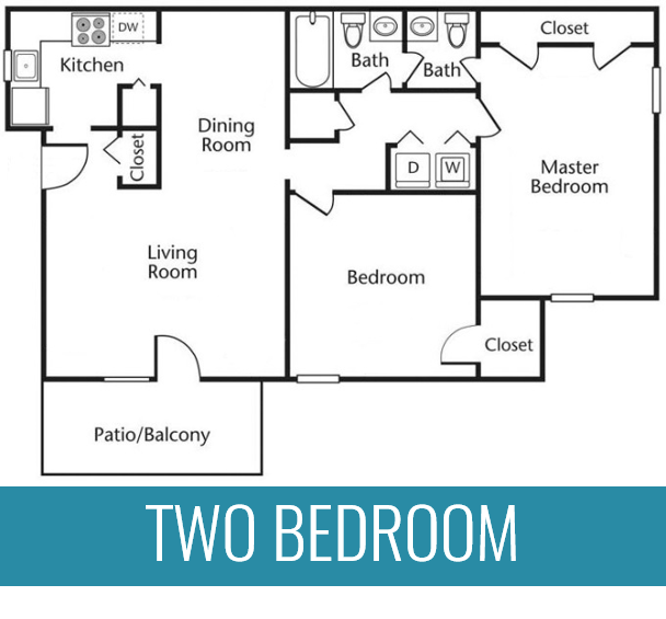2 BR | 2 BA | 1,250 Square Feet | From $829 per month