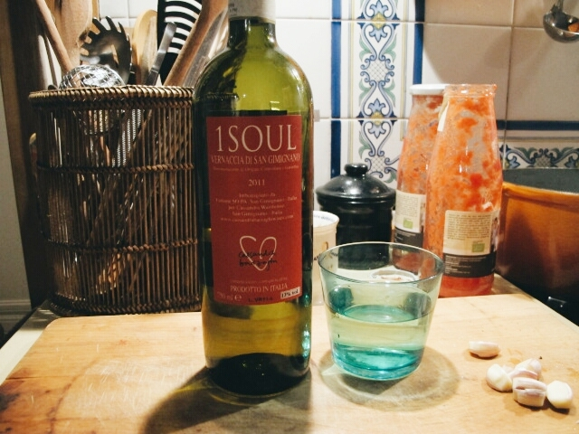 I poured a glass of beautiful Vernaccia di San Gemignano wine (Cassandra Wainhouse's)