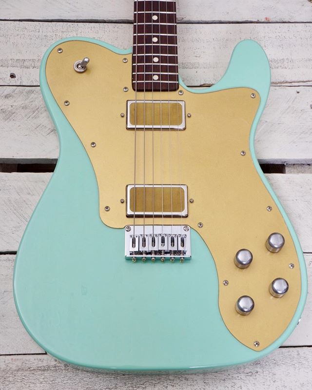 New Monterey Deluxe Model in surf green, w/ custom vintage PAF gold-foil humbucking @darkmoon_pickups. For sale on my website and @reverb store. . . . . . #guitarbuilding #guitar #luthier #surfgreen #gold #telecaster #gearslutz #guitarsofinstagram #vanhoutenguitars #teletuesday