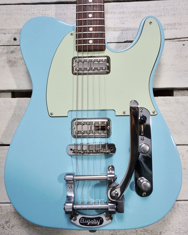 FOR SALE: Monterey model in sonic blue. Complete with @mcnellypickups silver-foil sparkletrons. Light relic. $1,400. . . . . . #guitar #guitarbuilder #guitarbuilding #telecaster #luthier #blueguitar #sonicblue #guitarsofinstagram #tvjones #vanhoutenguitars