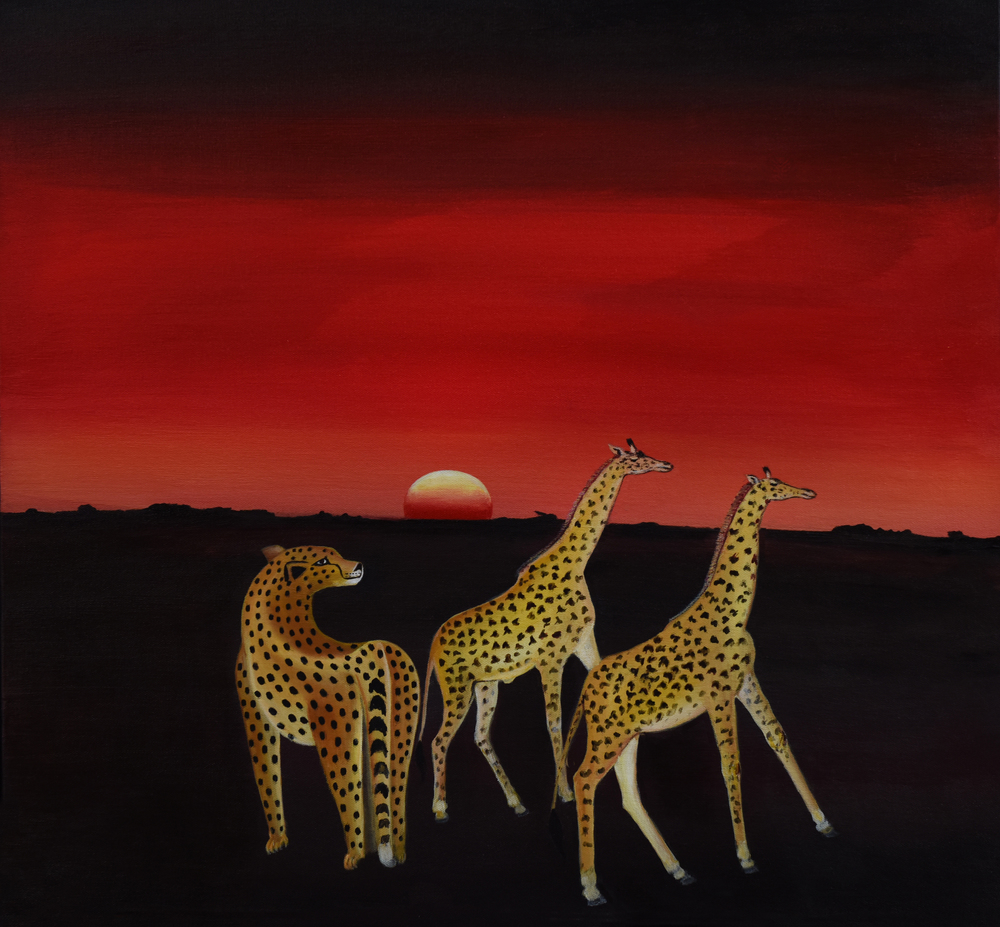 Cheetah and Two Giraffes