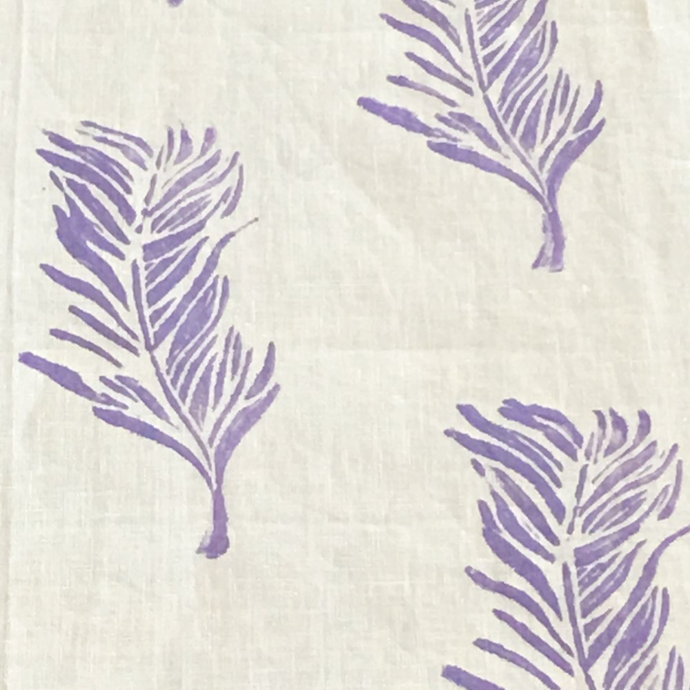Petite Feather White Linen Table Runner With Lavender