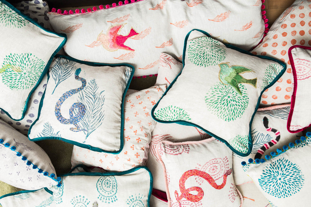 LIVING   This fall brings a whole new collection of cool, fresh new pillows. We've pumped up the embroidery, and created new prints and styles that are meant to be layered, combined and mixed and matched. Give them as gifts or create an oasis of color and texture in your home. Dive in to the pillow party to see more!