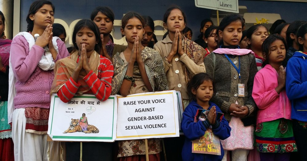 Apne Aap march of rescued girls commemorating the 2nd anniversary of Jyoti Singh's rape and murder (New Delhi, 2014)