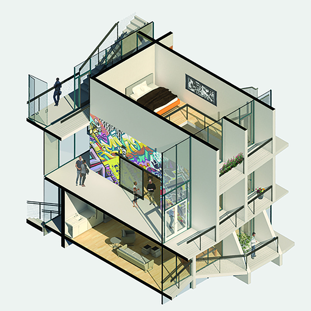 axonometric building section