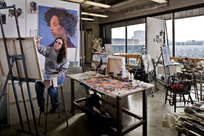 art student at CCS in studio space in the Kresge Ford Building 650.jpg
