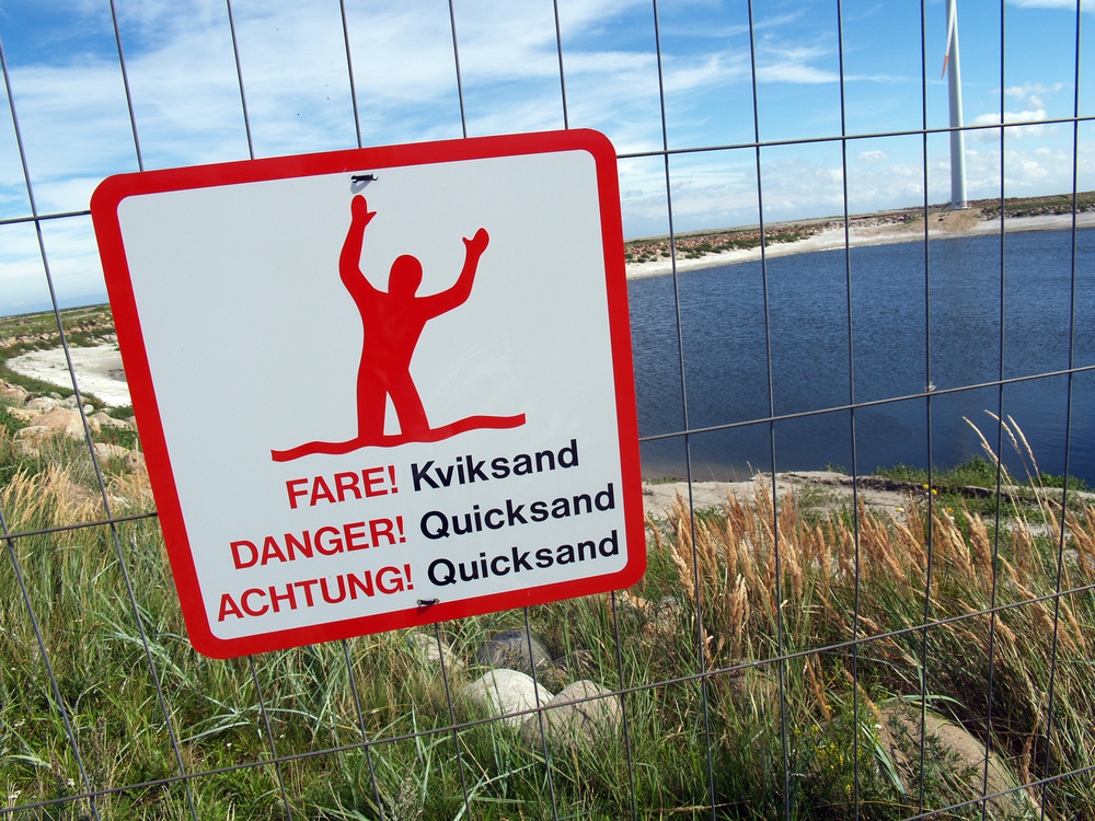 Quicksand warning sign in Denmark. Credit: Matthew Bargo