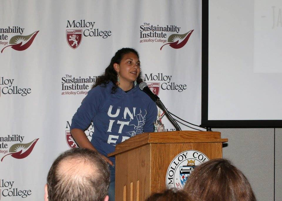 "Me speaking at Molloy Sustainable Living Institute's screening of ""A Plastic Paradise,"" Molloy College, Farmingdale, N.Y. May 2016."