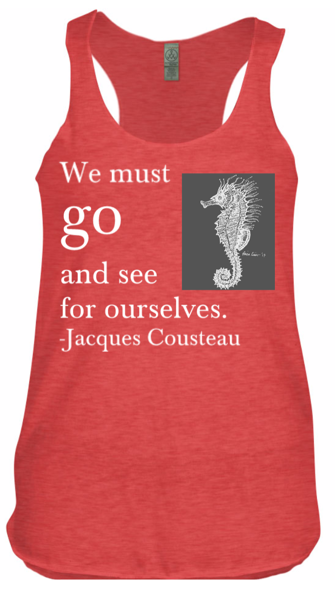 """""""Go and See"""" hand-drawn seahorse tank, made with special eco-friendly dyes. Loose fit. Sizes: S-XL. $50.00"""