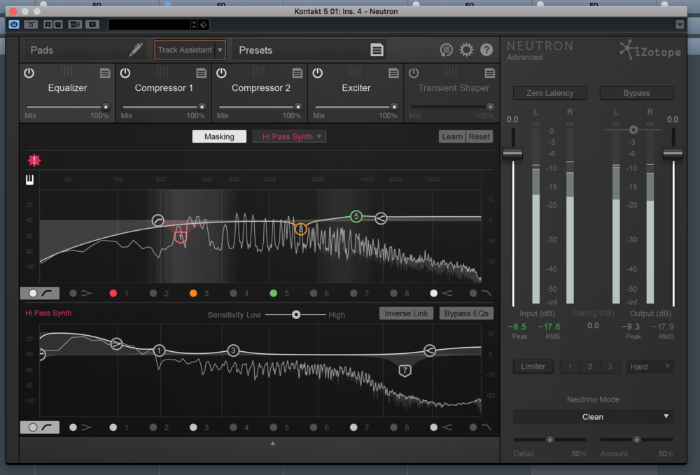 iZotope Neutron comparing 2 tracks for possible frequency masking