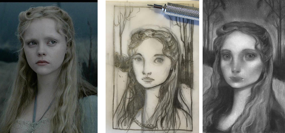 Sleepy Hollow Inspiration (left)  Thumbnail Stage (middle)  First Pass (right)