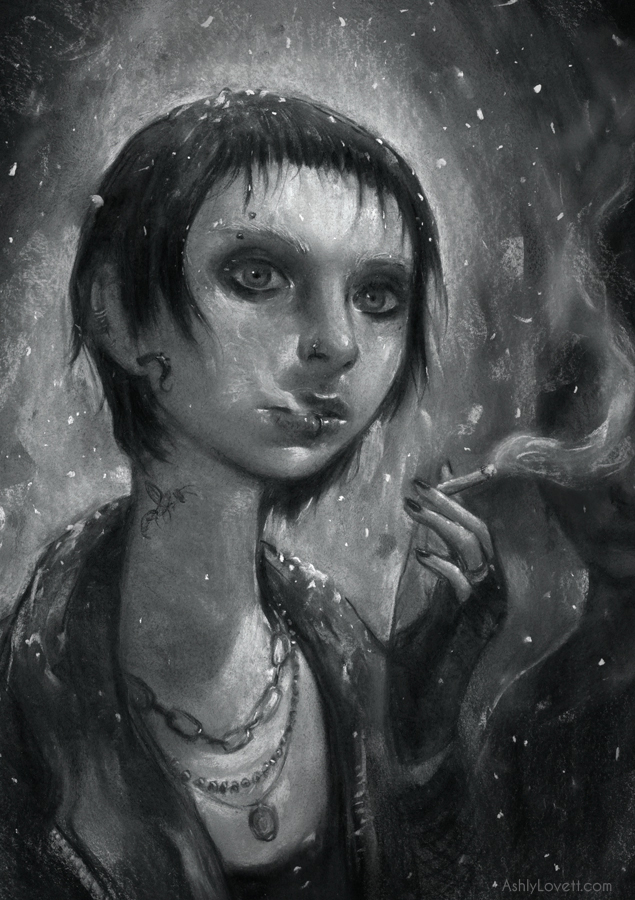 Lisbeth Salander from the novel Girl With the Dragon Tattoo. 11x16 chalk pastel on BFK Rives Paper. Digital manipulation with Photoshop. I chose black and white because I felt it wasn't what you'd typically see when glorifying someone. Just like Lisbeth's character wouldn't typically be the hero of any story.