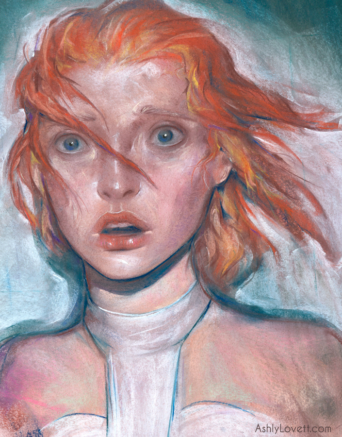 LeeLoo  from the awesome film  The Fifth Element . Original chalk pastel on BFK Rives Paper. This piece illustrates the first moment she sees the futuristic city of New York.  See my time-lapse video below, which shows my initial process when putting down a free form drawing.