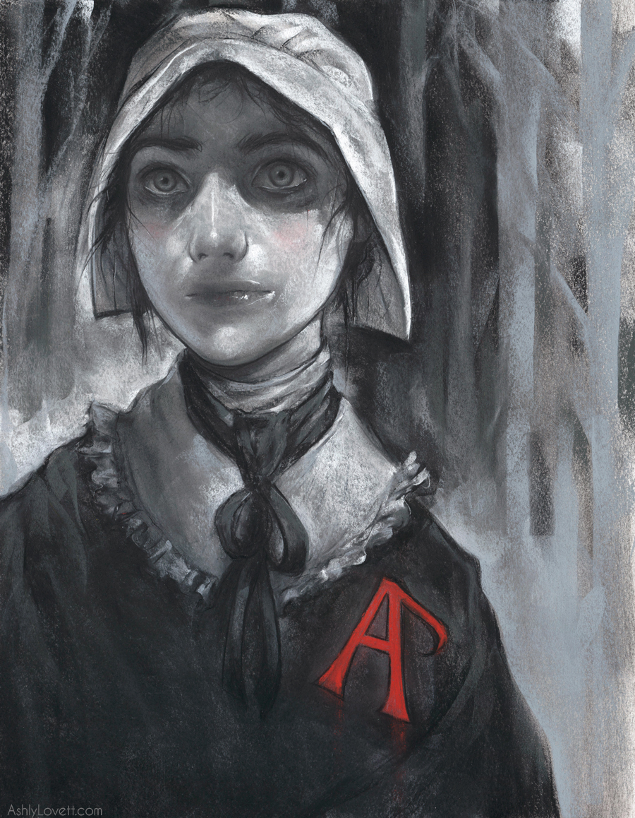 "Hester Prynne from the novel ""The Scarlet Letter"". Created with chalk pastel on paper."