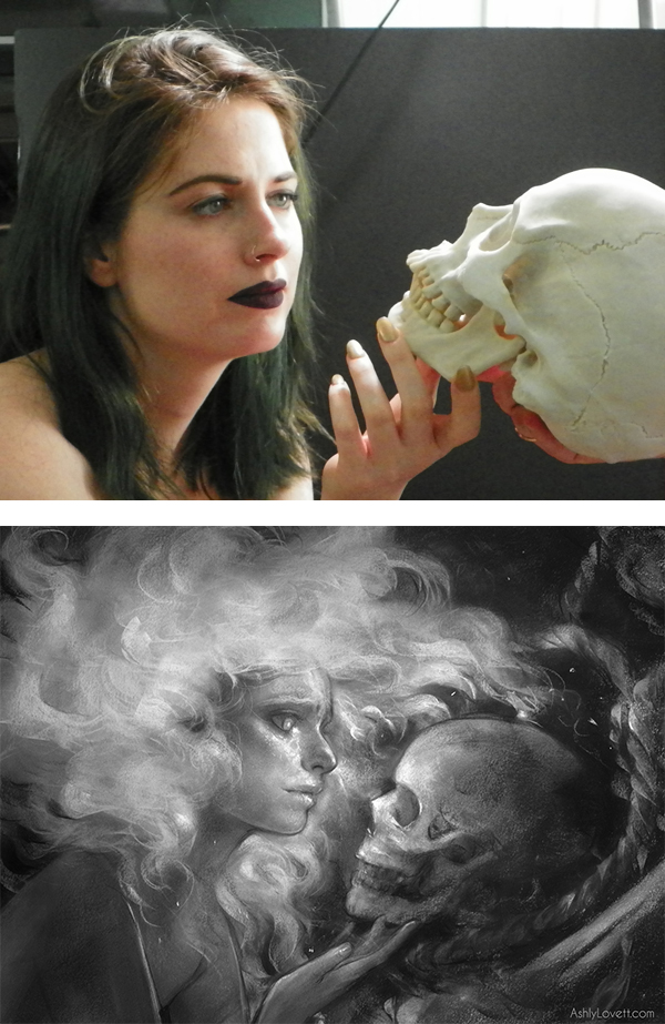 (Top) reference photo from our first photoshoot March 31st. (Bottom) earlier concept drawing.