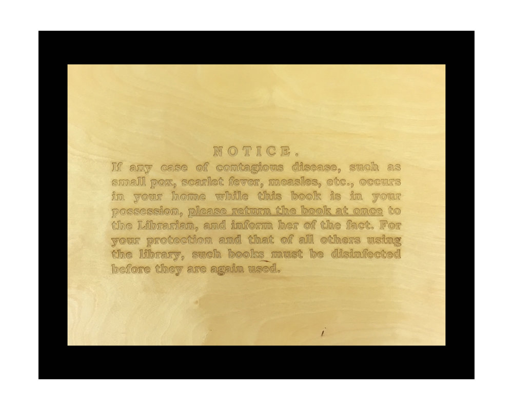 "NOTICE birch veneer (lazer etching) 12"" x 16"""