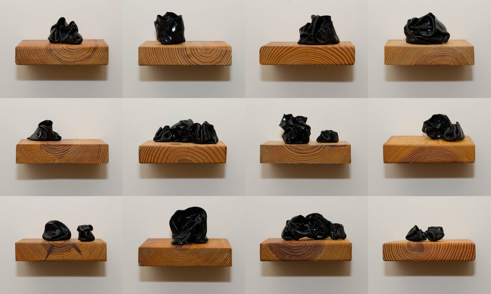 "YOU'RE STILL WITH ME, BUT IT'S HARD TO HEAR YOUR VOICE pine blocks, vinyl records (sculpture/collage) set of 12 5"" x 7"" x 6"""