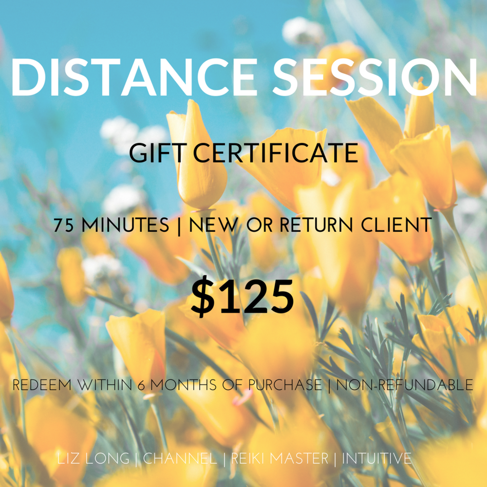 Distance Session (Phone) Gift Certificate — LIZ LONG - intuitive healer + reiki master