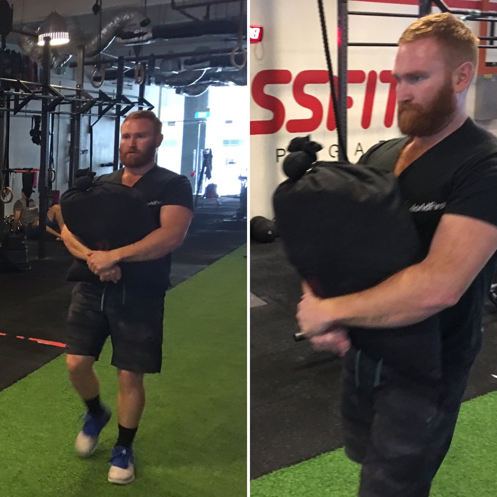 4. Sandbag carries are a full body exercise and highly functional for everyday use. Sandbag carries restore performance in a basic skill of daily living whilst enhancing strength, core stability and work capacity. -