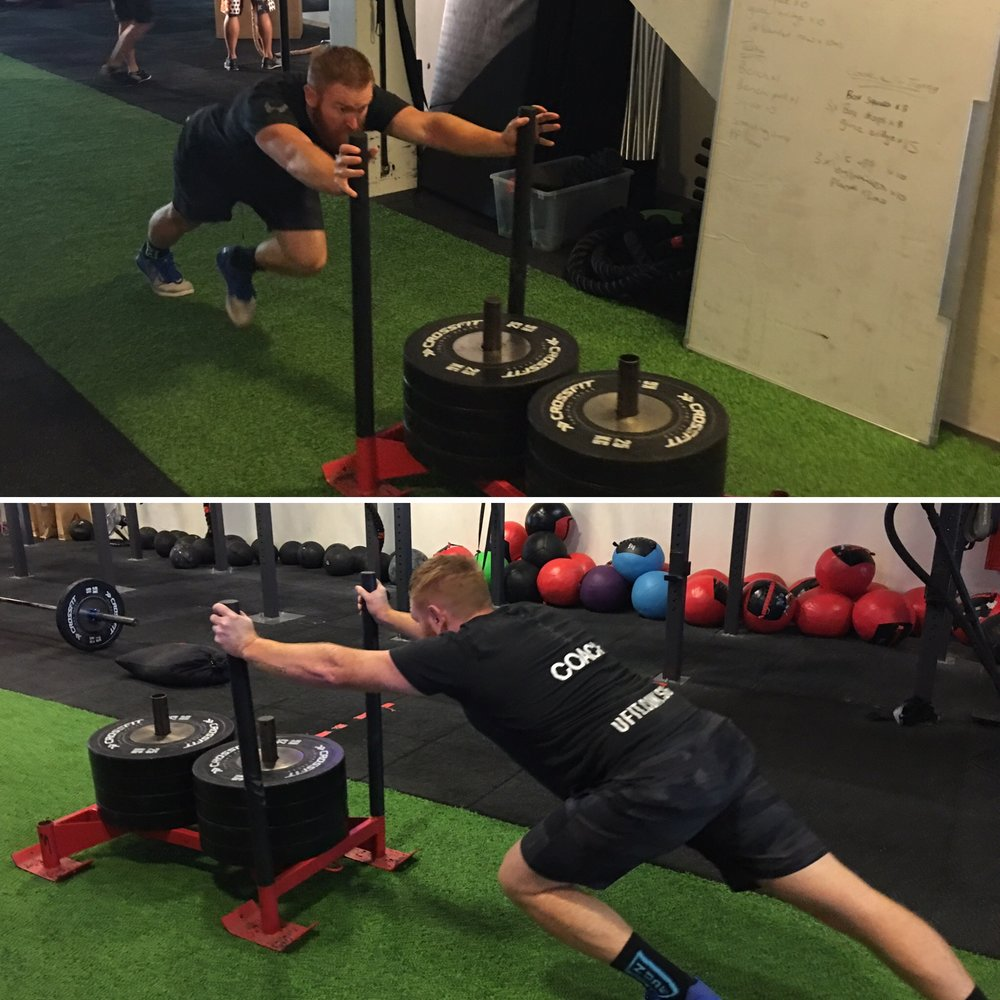 5. Prowler sprints - short duration, high intensity prowler sprints in intervals improves your anaerobic capacity whist building power and explosive strength in your legs. -