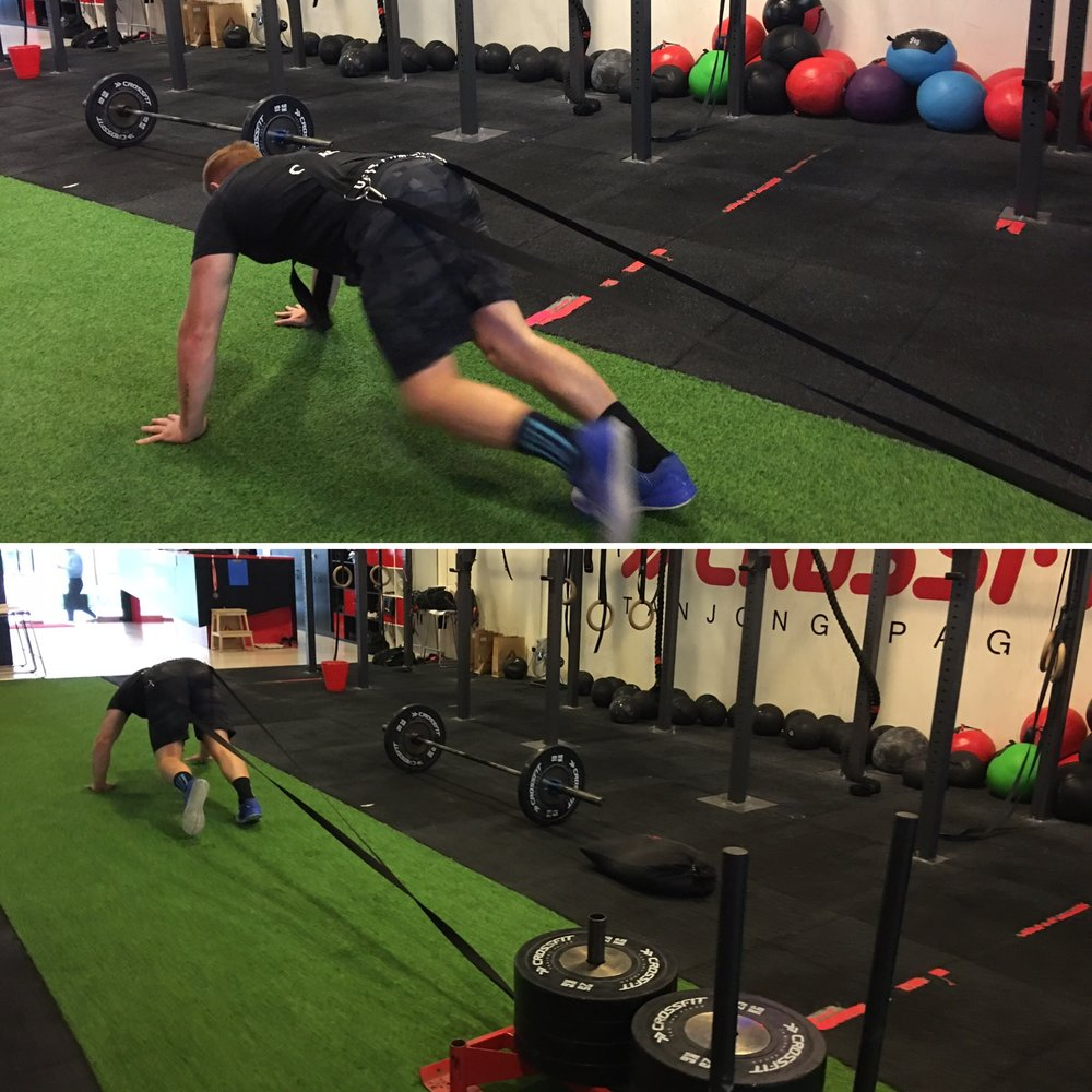 6. Weighted bear crawls  engage the entire body, strengthening hips and core muscles. Bear crawls help connect the lower and upper body whilst increasing overall power. Adam is nailing it here with 220kg, though this weight is not for everyone and we recommend your trainer helps you choose the right weight for you! -