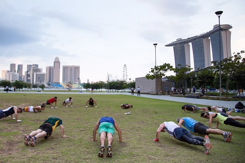 QUICKFIT  A 45 minute intense cardio and strength training workout perfect for the busy professional trying to squeeze in a workout.  Marina Bay