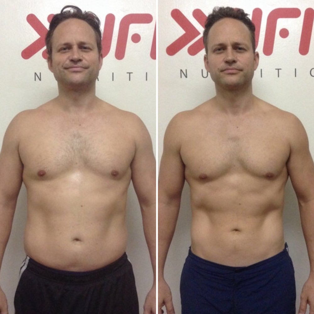 Rob, before and after, lost over 11kg - his first time under 100kg in 15 years.
