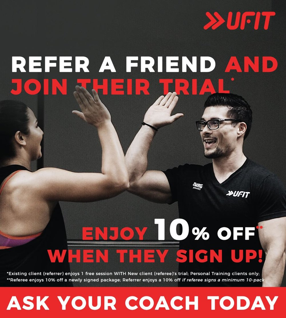 Refer your friend for a personal training trial session with your coach, and join in their session for free!