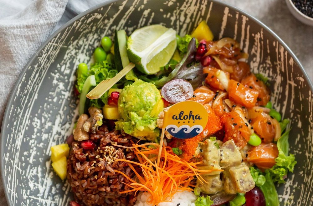 Proteins, veggies and fruit - so much goodness in one little bowl with  Aloha Poke .
