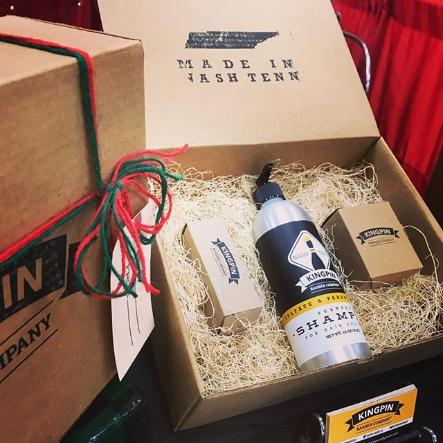 Have a man in your life that could use some grooming? Stop by the #kingpinbarberco booth at Christmas Village and have a glass of wine! . . . . #pinhead #christmasvillagetn #nashville #local #kingpinbarberco