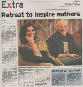In  The Courier-Mail  with fellow Brisbane author  Darryl R Dymock  on the  QWC /Hachette manuscript development program, 2013