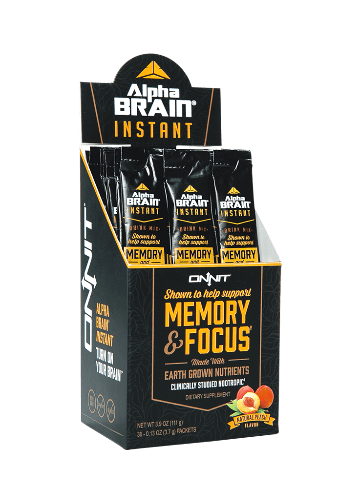ALPHA BRAIN INSTANT  - Delicious, peachy clarity on-the-go.  We sell these as singles.  Perfect for a quick focus and creativity boost before or after your float.   $3 each