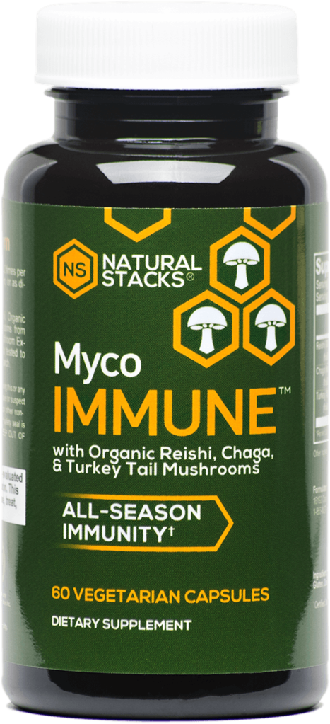 MYCO IMMUNE  contains Organic Reishi, Organic Chaga, and Organic Turkey Tail mushroom extracts for all-season immunity support.   60 Ct - $39