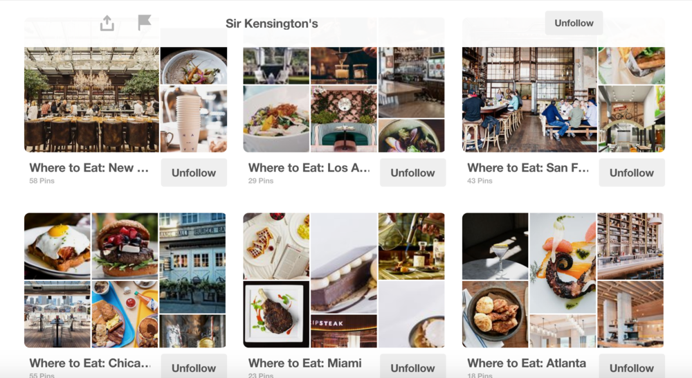 A curated guide of Sir Kensington's partner restaurants in various cities in the US