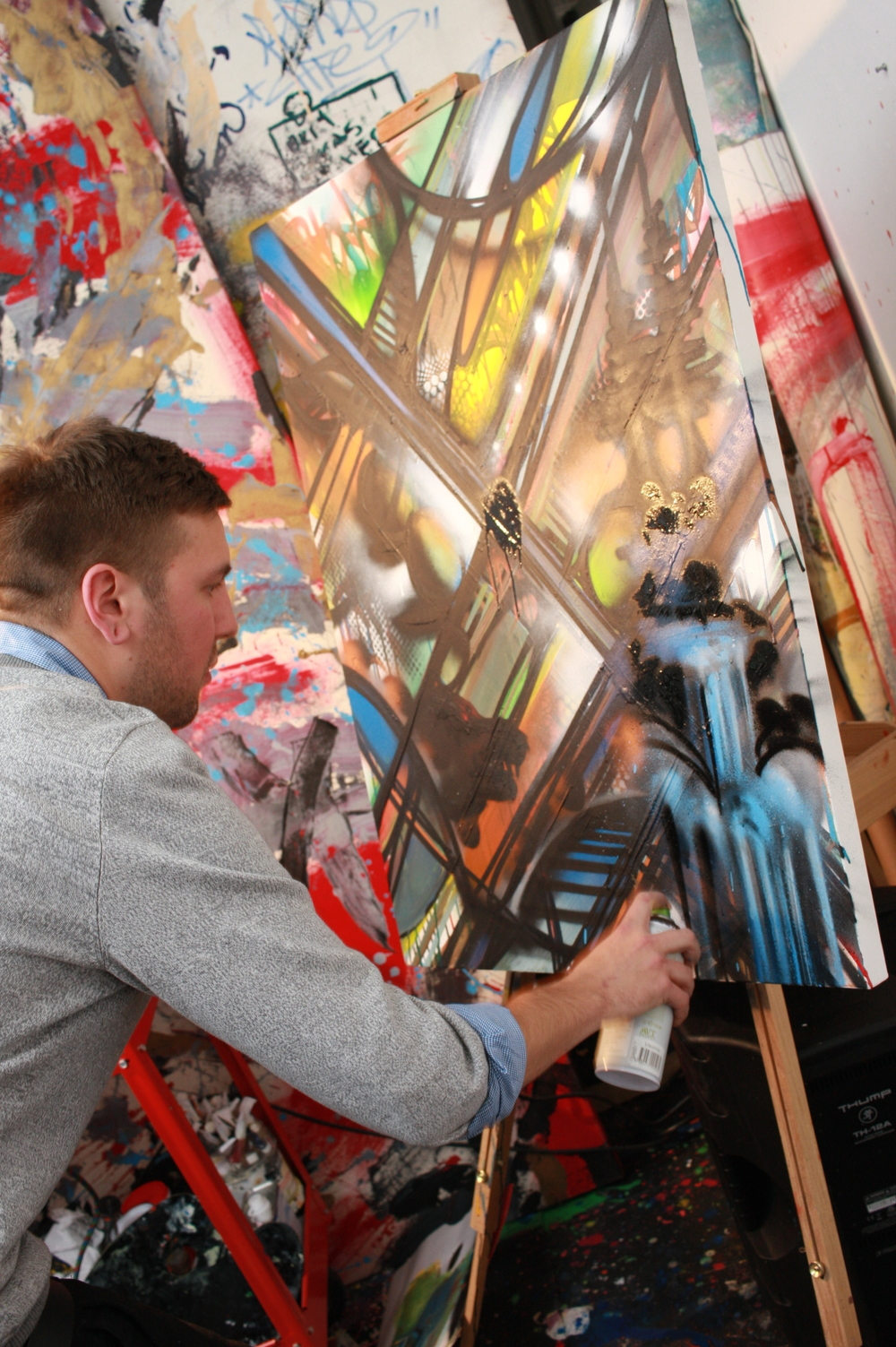 Ryan Smith responding to input from a guest to add a waterfall to his painting on 1.9.15