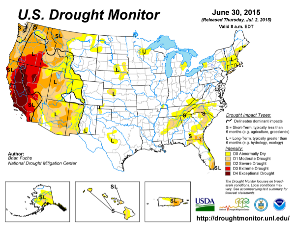 Graphic provided by: NOAA: Drought for June 2015, published online July 2015, retrieved on July 28, 2015