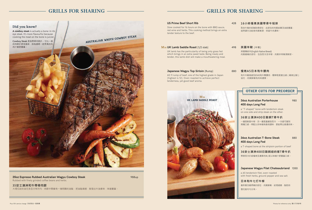 Prime cuts of beef and lamb for sharing