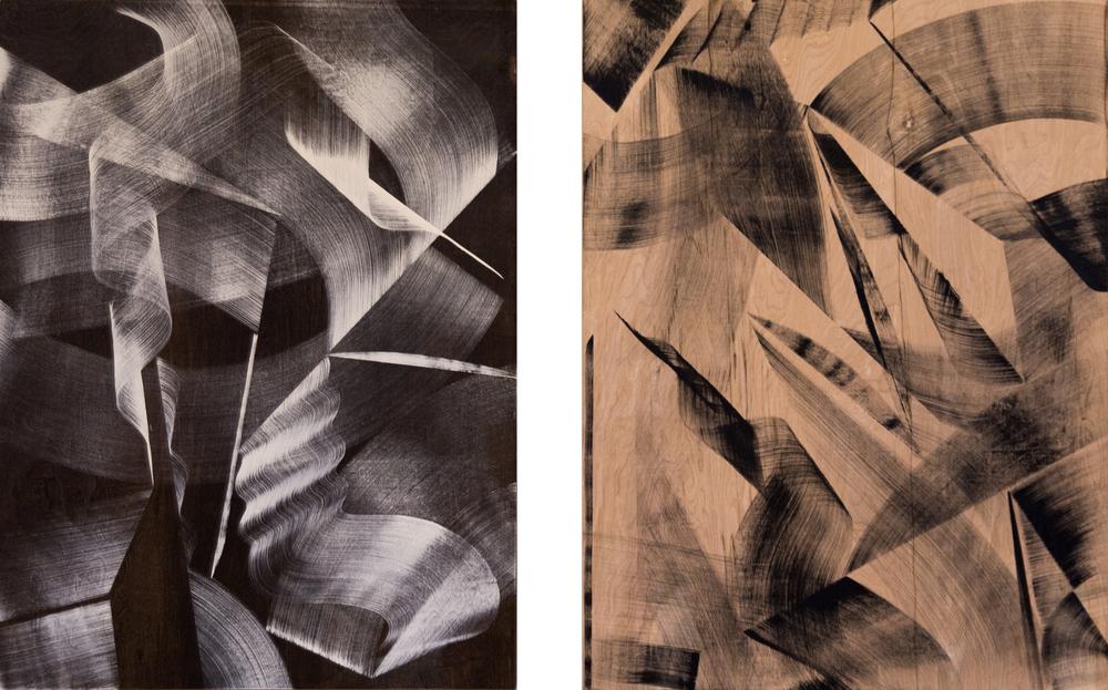 """(2) 48"""" x 36""""  Acrylic &Ink on Wood  2015"""